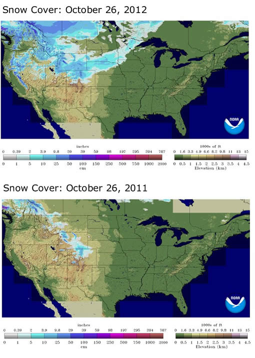 Snow cover comparison: October 26 2012 vs 2011